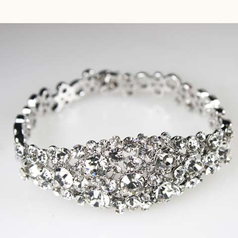 Glamorous Bridal Bangle with Pave Swarovski Crystal Wedding Tennis Bracelet