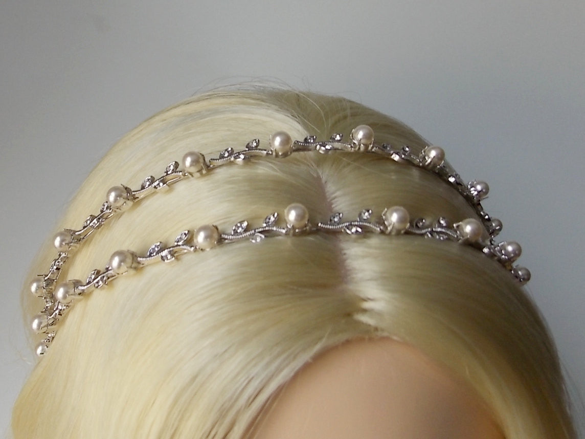 Ethereal 2-Line Pearl Vine Bridal Headband with Swarovski Crystal 1920s Wedding Headpiece Boho Hair Jewelry