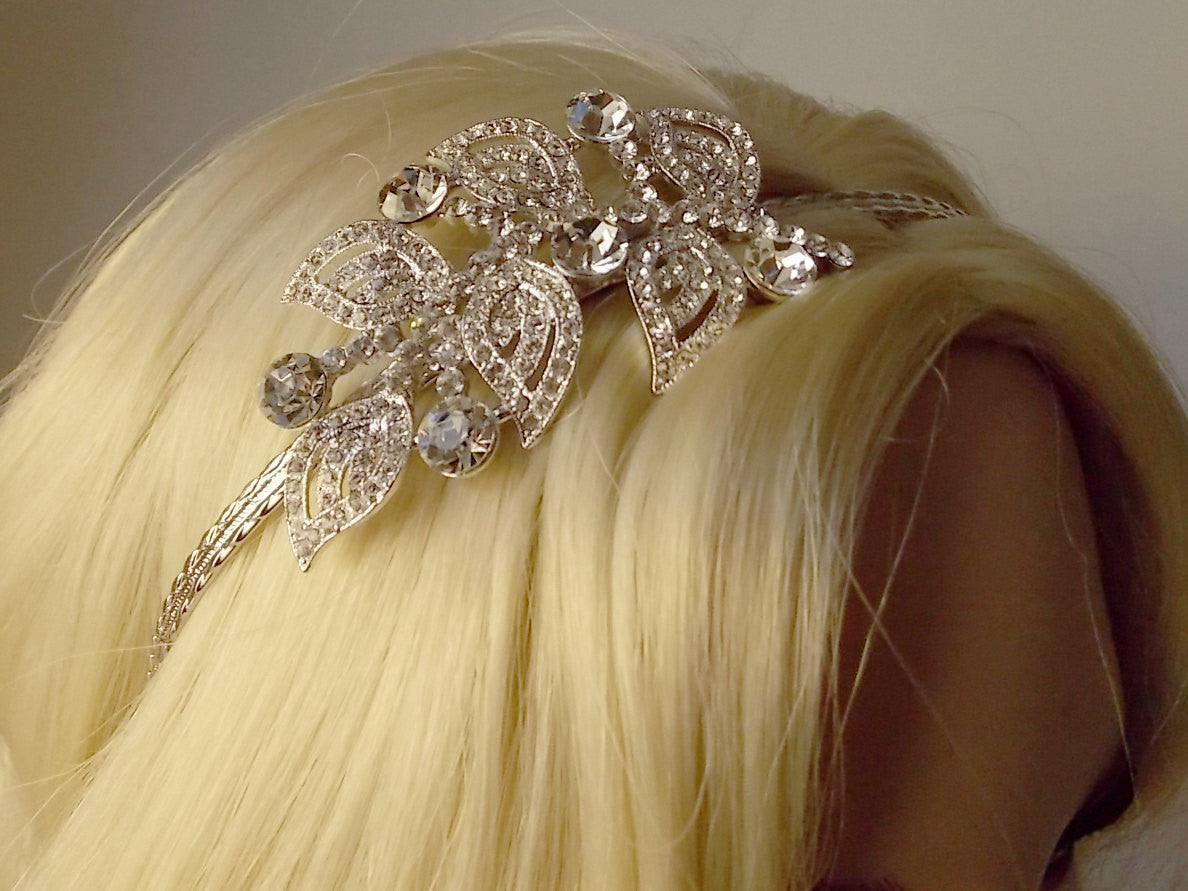Floral Leaf Bridal Headband with Pave Swarovski Crystal 1920s Wedding Headpiece