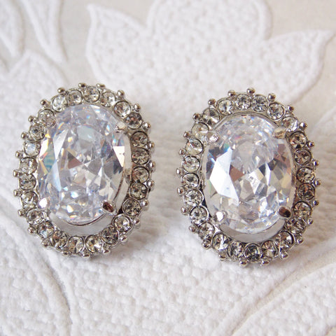 Classic Bridal Stud Earrings with Swarovski Crystal Halo