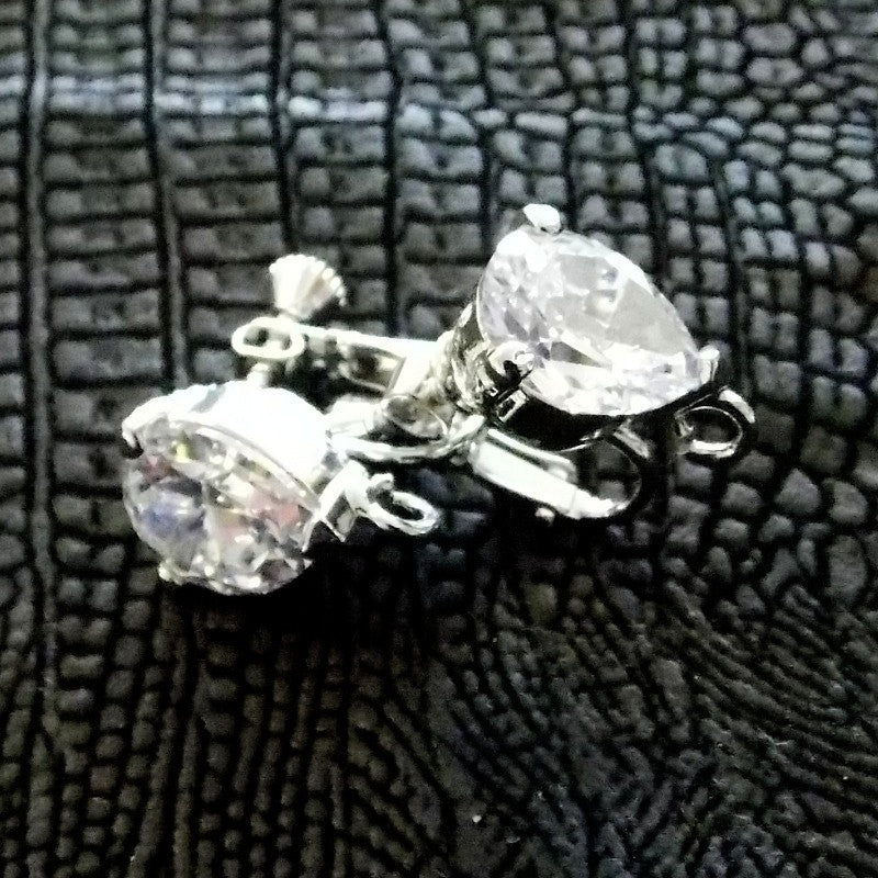 Clear Pear Shaped Cubic Zirconia Clip-On Converter - Comfortable Adjustable Screw Back with Hinge