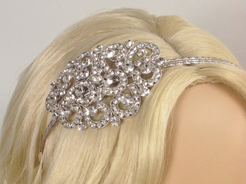 Bridal Headband with Pave Swarovski Crystal 1920s Wedding Headpiece Boho Rhinestone Hair Jewelry