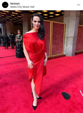 kes nyc red silk dress