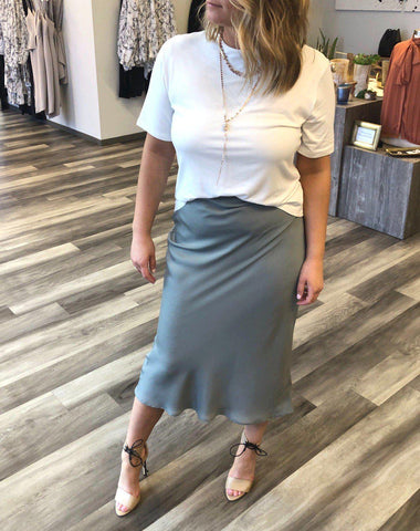 White Tee and Silk Skirt
