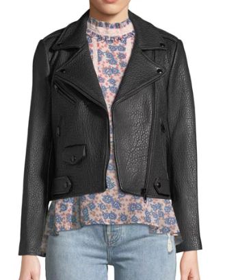 Rebecca Minkoff Pebbled Leather Moto Jacket
