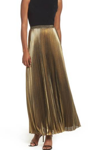 Eliza J Metallic Pleated Maxi Skirt