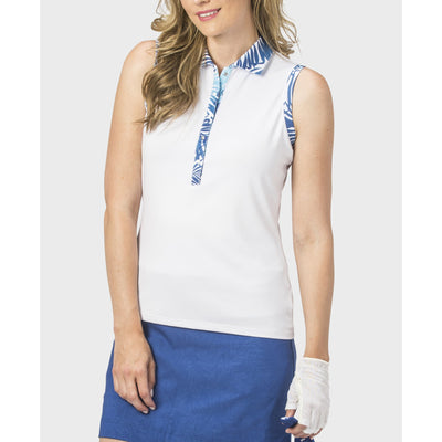 Nancy Lopez Escapade Sleeveless Polo White Multi