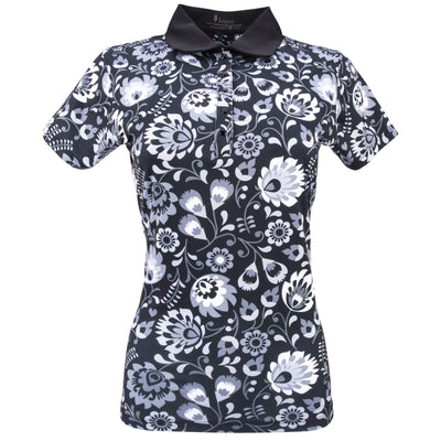 Nancy Lopez Golf Beauty Short Sleeve Polo Black Multi