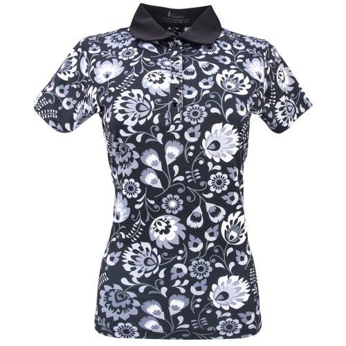 Nancy Lopez Golf Beauty Short Sleeve Polo Plus Black Multi