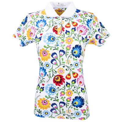 Nancy Lopez Golf Beauty Short Sleeve Polo Plus White Multi