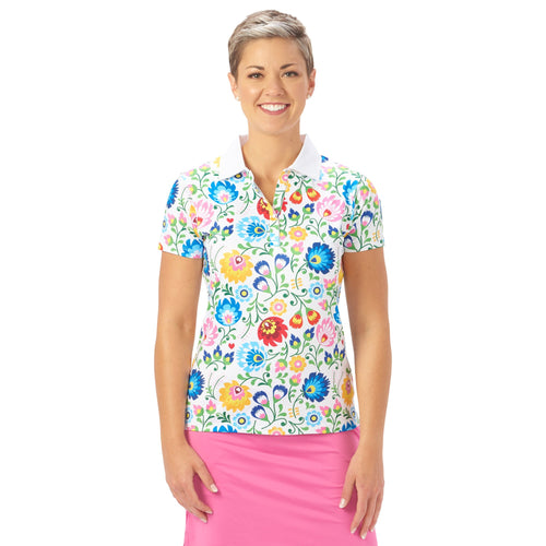 Nancy Lopez Golf Beauty Short Sleeve Polo White Multi