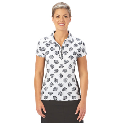 Nancy Lopez Golf Bloom Short Sleeve Polo Black Multi