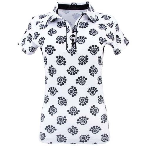 Nancy Lopez Golf Bloom Short Sleeve Polo Plus Black Multi