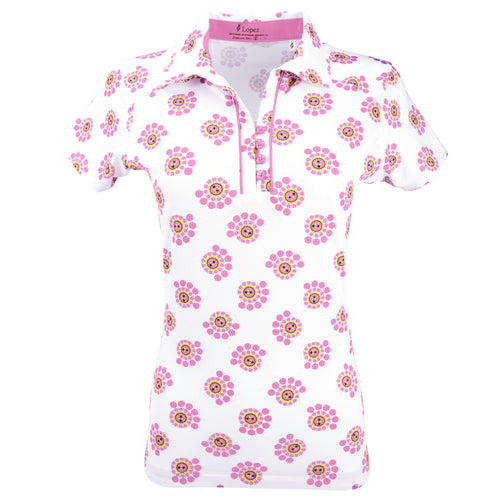 Nancy Lopez Golf Bloom Short Sleeve Polo Plus Hot Pink Multi