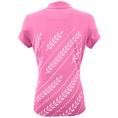 Nancy Lopez Golf Carefree Short Sleeve Polo Hot Pink/White