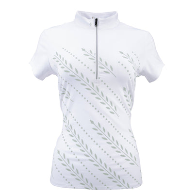 Nancy Lopez Golf Carefree Short Sleeve Polo White/Silver