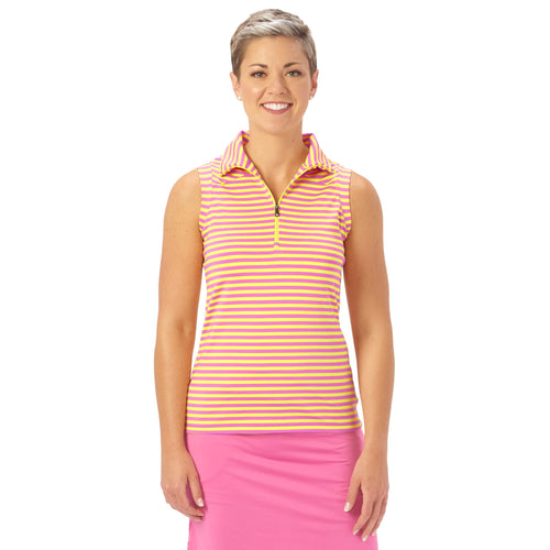 Nancy Lopez Golf Flight Sleeveless Polo Hot Pink/Lemon