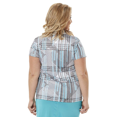 Nancy Lopez Glide Short Sleeve Polo Plus Teal/White Multi
