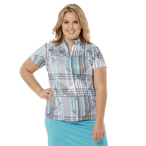 Nancy Lopez Glide Short Sleeve Polo Teal/White Multi