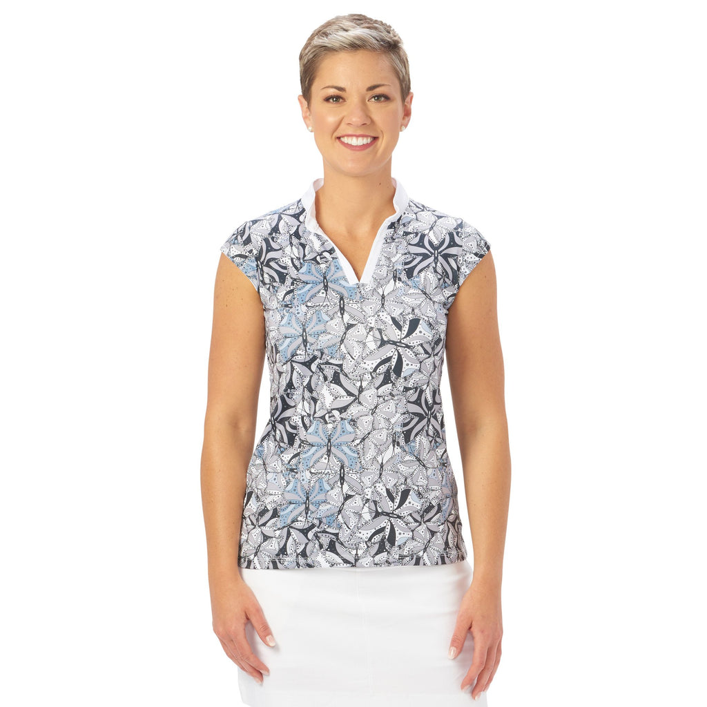 Nancy Lopez Golf Hope Sleeveless Polo Black Multi