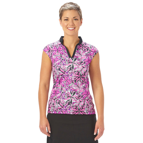 Nancy Lopez Golf Hope Sleeveless Polo Hot Pink Multi