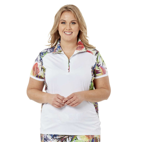 Nancy Lopez Paradise Short Sleeve Polo Plus White Multi