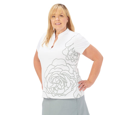 Nancy Lopez Plush Short Sleeve Polo Plus White/Silver