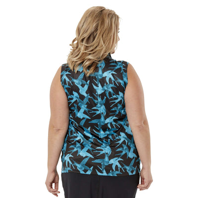Nancy Lopez Soar Sleeveless Polo Black/Teal Multi