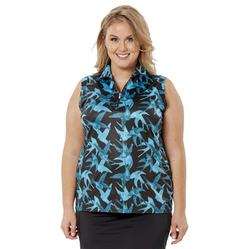 Nancy Lopez Soar Sleeveless Polo Plus Black/Teal Multi