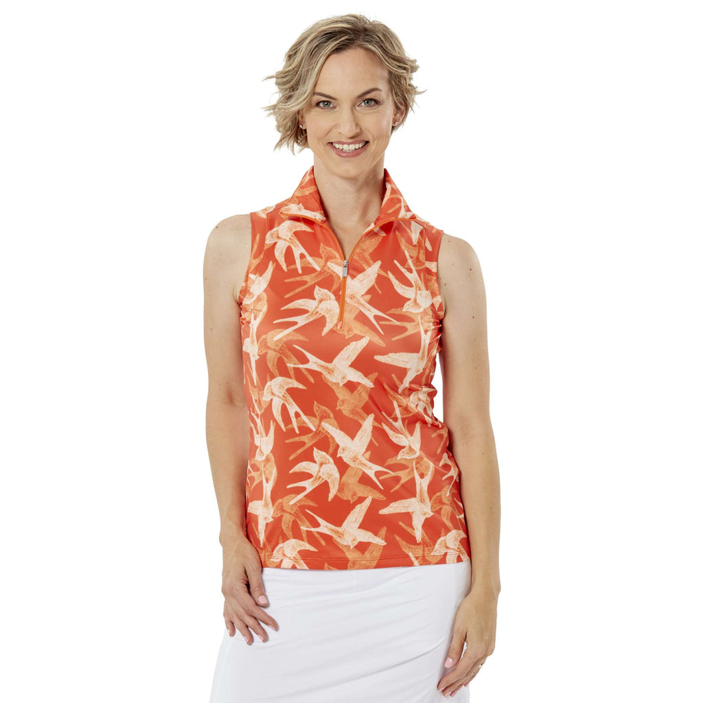 Nancy Lopez Soar Sleeveless Polo Tangerine/White Multi