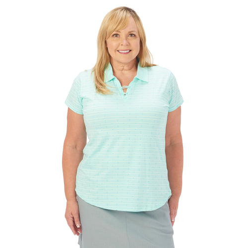 Nancy Lopez Tempo Short Sleeve Polo Plus Mist Multi