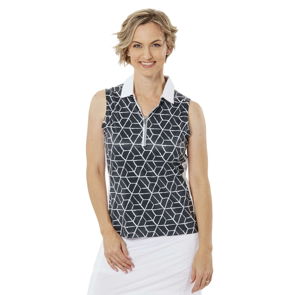 Nancy Lopez Vixen Sleeveless Polo Black Multi