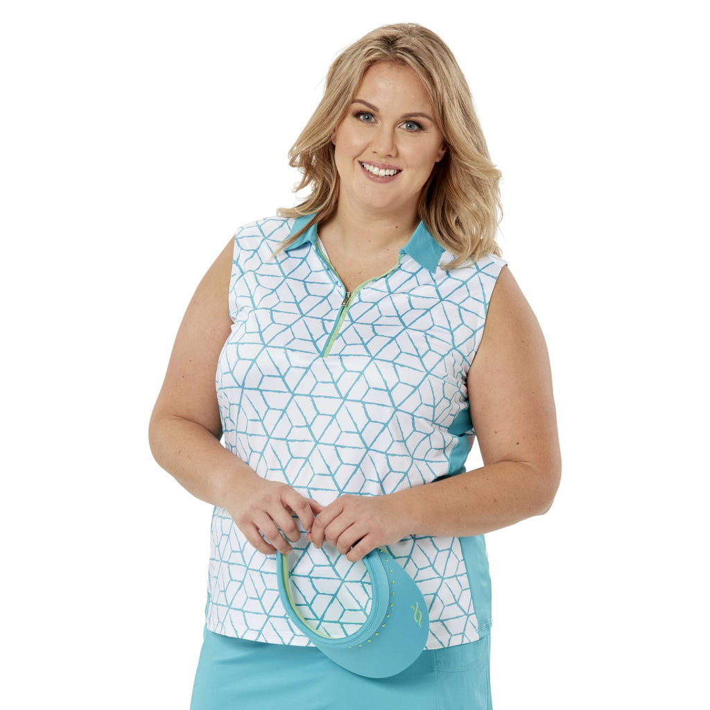 Nancy Lopez Vixen Sleeveless Polo Teal Multi
