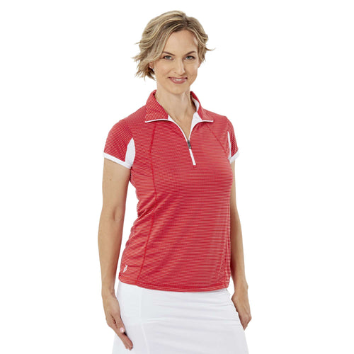 Nancy Lopez Zone Short Sleeve Polo - Cherry/White