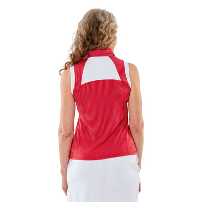 Nancy Lopez Zone Sleeveless Polo - Cherry/White