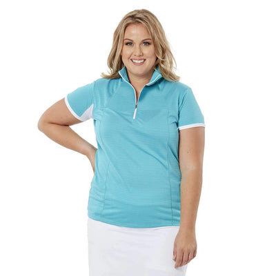 Nancy Lopez Zone Sleeveless Polo - Teal/White