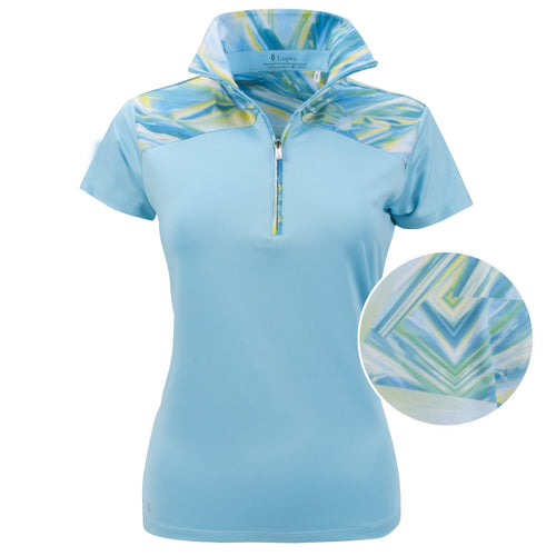 Nancy Lopez Hologram Short Sleeve Polo Plus Aquarius/White
