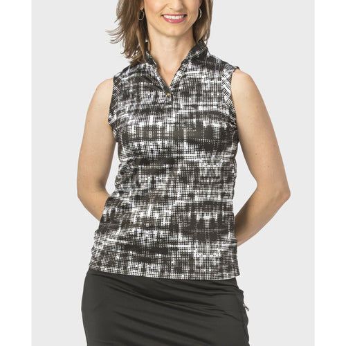 Nancy Lopez Random Sleeveless Polo Black Multi
