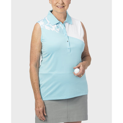 Nancy Lopez Splice Sleeveless Polo Aquarius/White