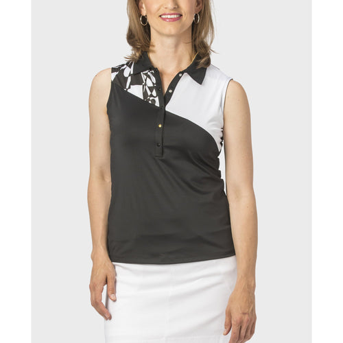 Nancy Lopez Splice Sleeveless Polo Black/White