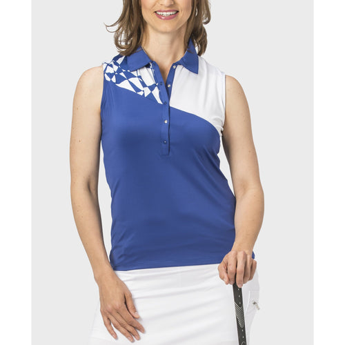 Nancy Lopez Splice Sleeveless Polo Twilight/White