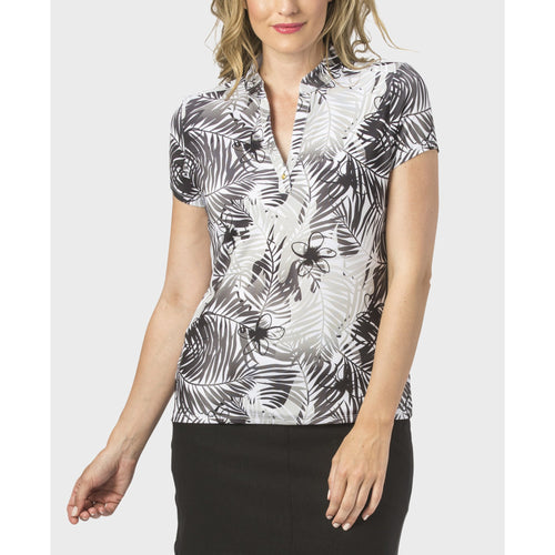 Nancy Lopez Tropic Short Sleeve Polo Black Multi