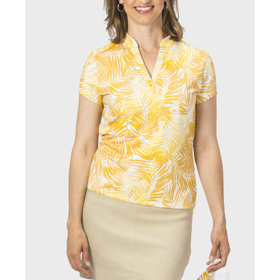 Nancy Lopez Tropic Short Sleeve Polo Daffodil Multi