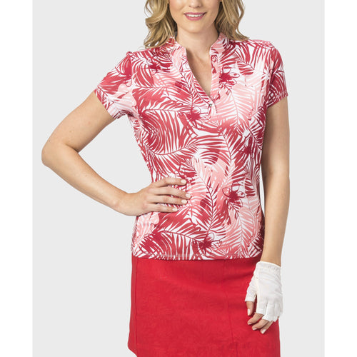 Nancy Lopez Tropic Short Sleeve Polo Fiery Red Multi