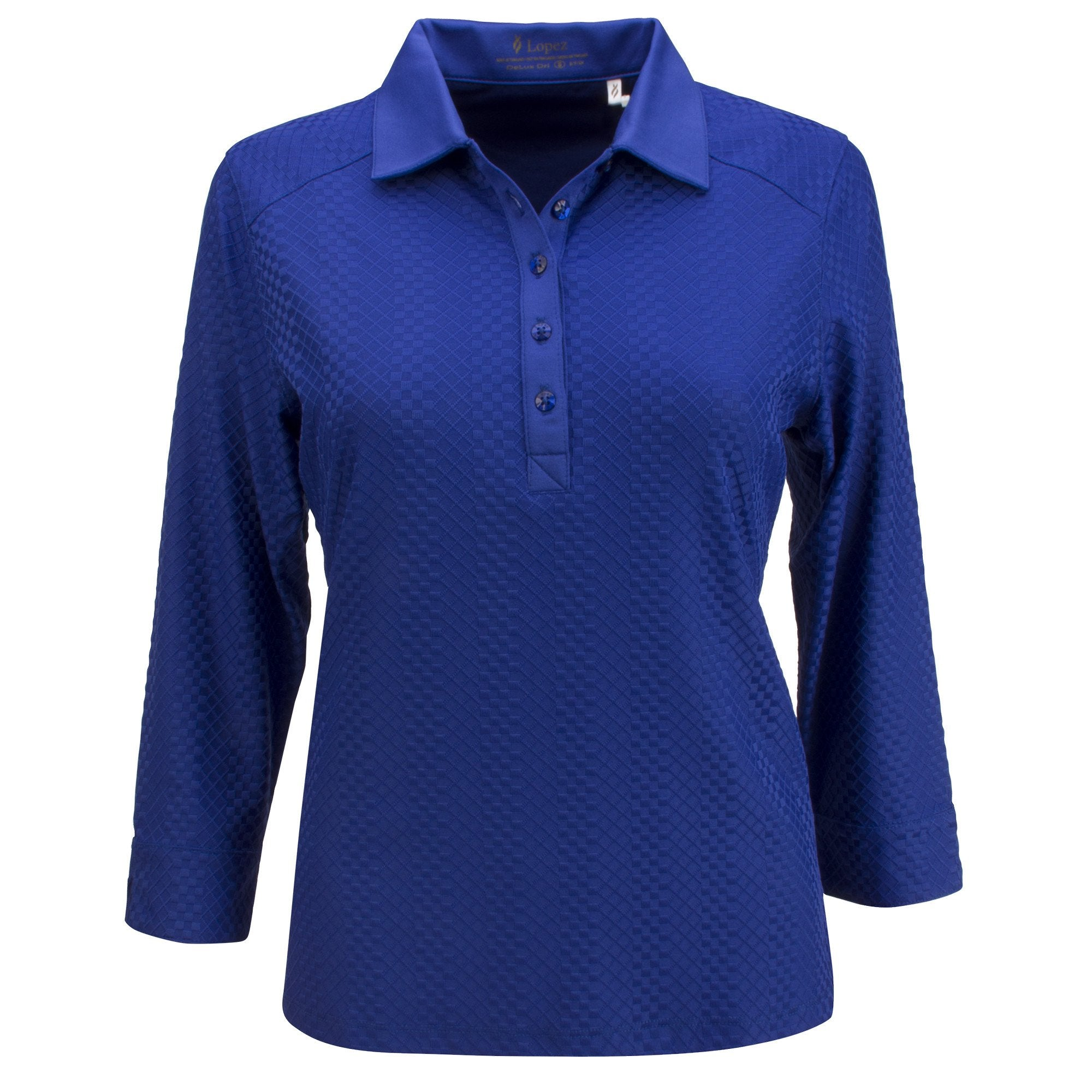 Nancy Lopez Golf Grace 3/4 Sleeve Polo Plus - Twilight
