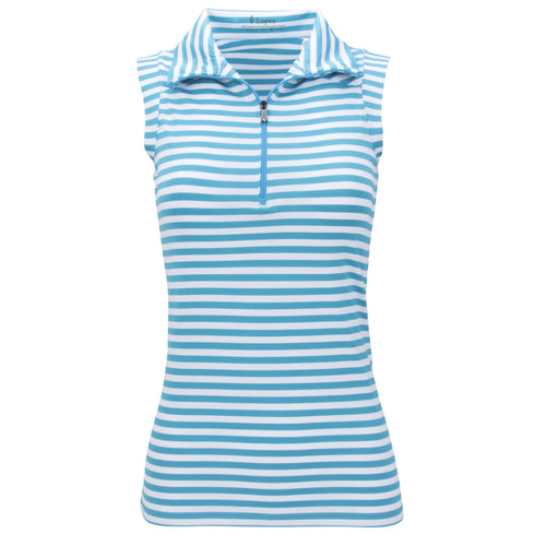 Nancy Lopez Flight Sleeveless Polo Plus Peacock/White