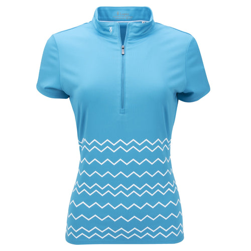 Nancy Lopez Warrior Short Sleeve Polo Plus Peacock/White