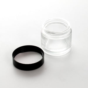 Clear Glass Jar - Black Screw Fit Lid - 60ml - Pack of 10 - Refined UK