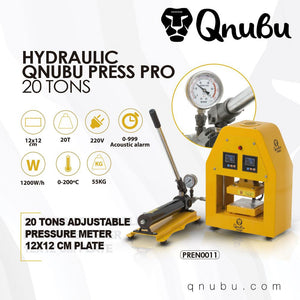 Qnubu 20 Ton Pro Hydraulic Press - 12cmx12cm - Plates 0-249 degrees - Refined UK