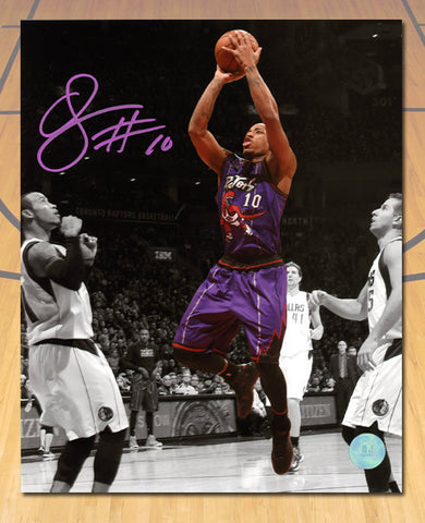 DeMar DeRozan Toronto Raptors Autographed Retro Purple Spotlight 8x10 Photo